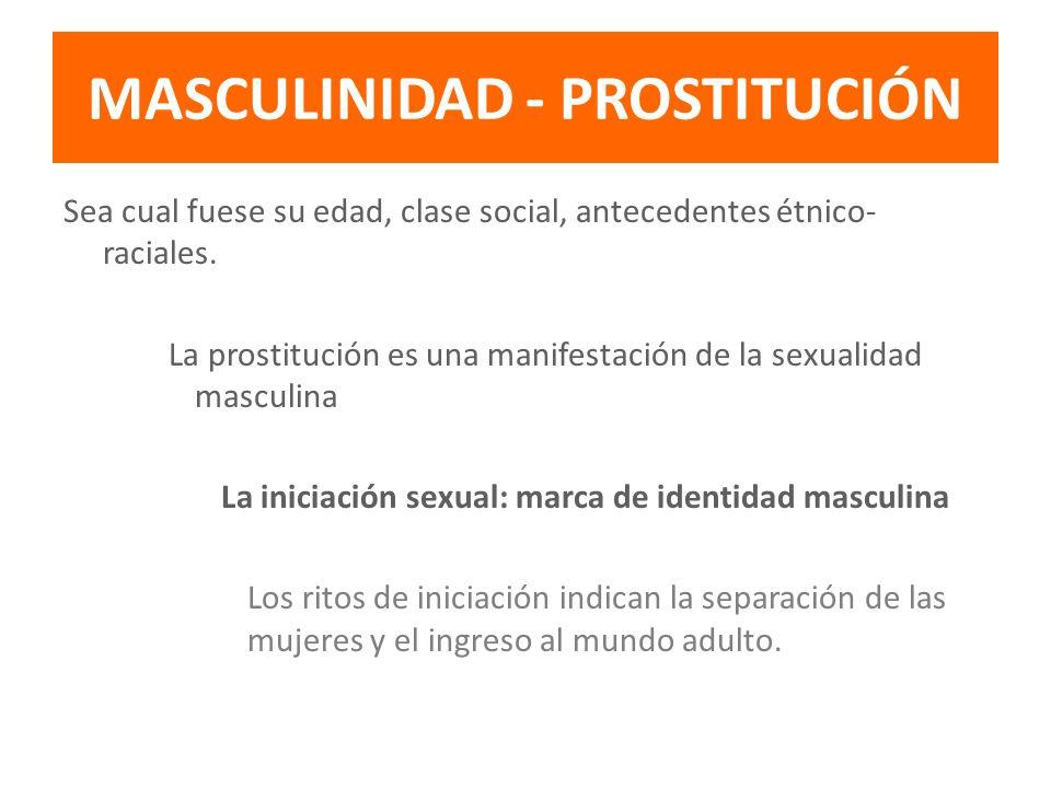 MASCULINIDAD - PROSTITUCIÓN Sea cual fuese su edad, clase social, antecedentes étnico- raciales. La prostitución es una manifestación de la sexualidad