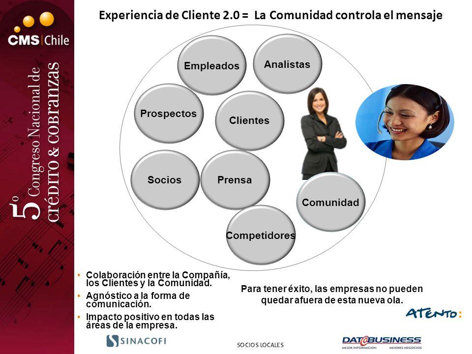 Clientes Prospectos Analistas PrensaSocios Competidores Empleados Experiencia de Cliente 2.0 = La Comunidad controla el mensaje Comunidad Para tener é