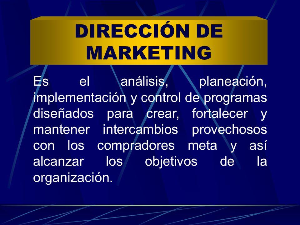 Es el análisis, planeación, implementación y control de programas diseñados para crear, fortalecer y mantener intercambios provechosos con los comprad