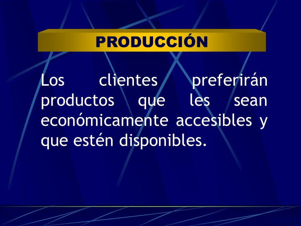 Los clientes preferirán productos que les sean económicamente accesibles y que estén disponibles. PRODUCCIÓN