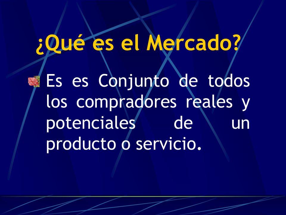 ¿Qué es el Mercado? Es es Conjunto de todos los compradores reales y potenciales de un producto o servicio.