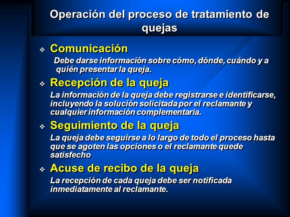 Operación del proceso de tratamiento de quejas Comunicación Debe darse información sobre cómo, dónde, cuándo y a quién presentar la queja. Recepción d