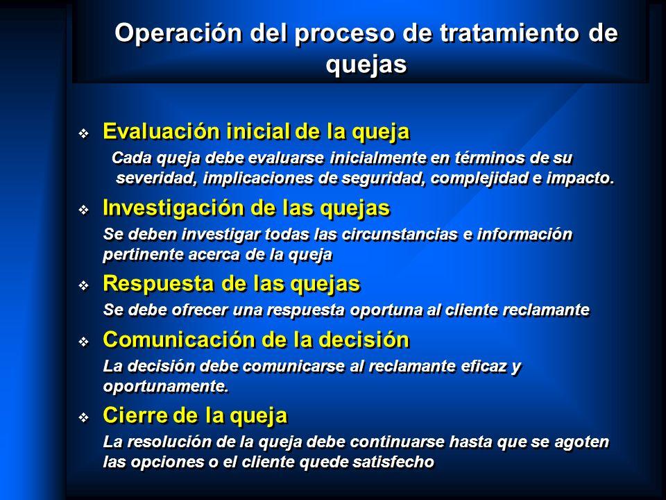 Operación del proceso de tratamiento de quejas Evaluación inicial de la queja Cada queja debe evaluarse inicialmente en términos de su severidad, impl