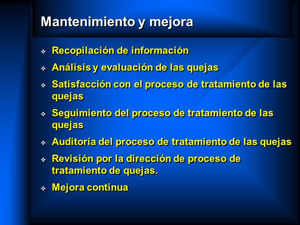 Mantenimiento y mejora Recopilación de información Análisis y evaluación de las quejas Satisfacción con el proceso de tratamiento de las quejas Seguim
