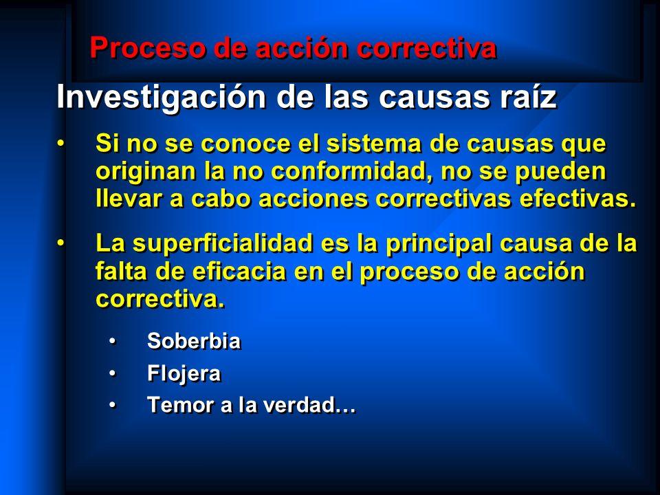 Proceso de acción correctiva Investigación de las causas raíz Si no se conoce el sistema de causas que originan la no conformidad, no se pueden llevar