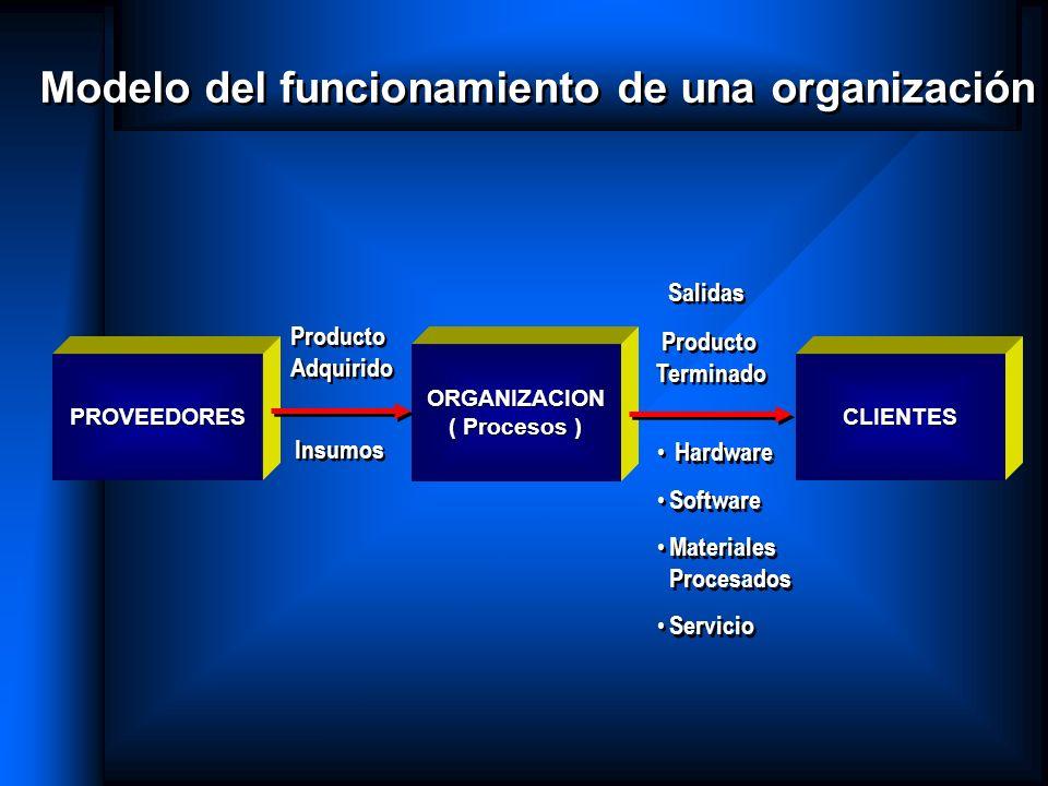 ORGANIZACION ( Procesos ) Modelo del funcionamiento de una organización Salidas Producto Terminado Salidas Producto Terminado Hardware Software Materi