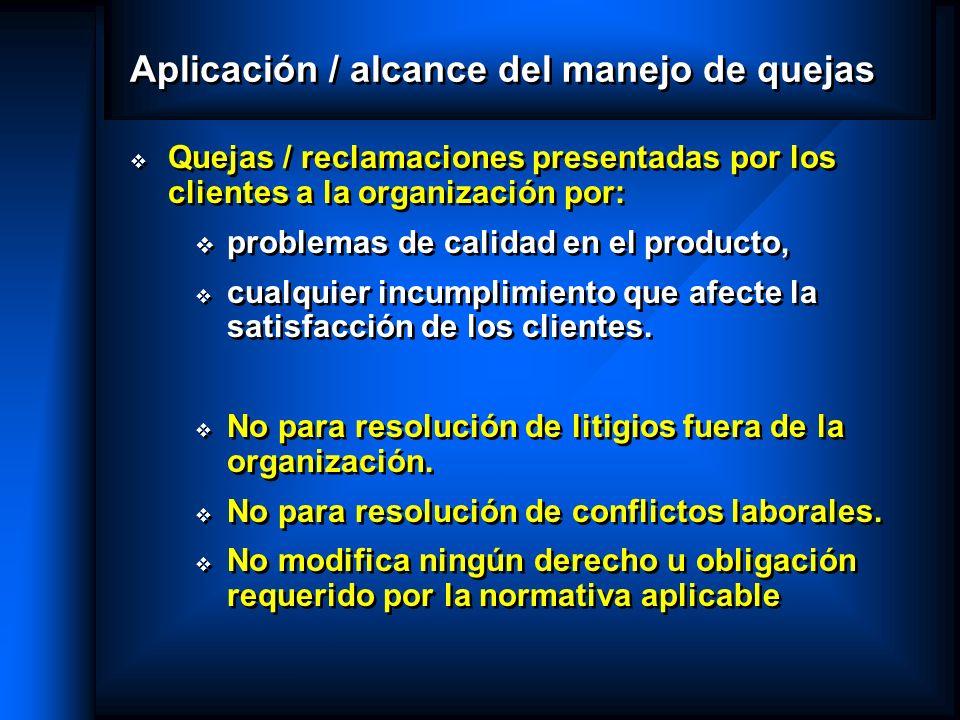 Aplicación / alcance del manejo de quejas Quejas / reclamaciones presentadas por los clientes a la organización por: problemas de calidad en el produc