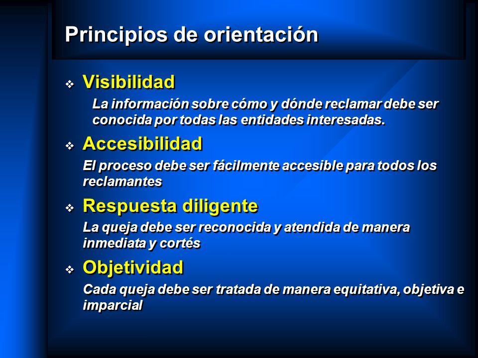 Principios de orientación Visibilidad La información sobre cómo y dónde reclamar debe ser conocida por todas las entidades interesadas. Accesibilidad
