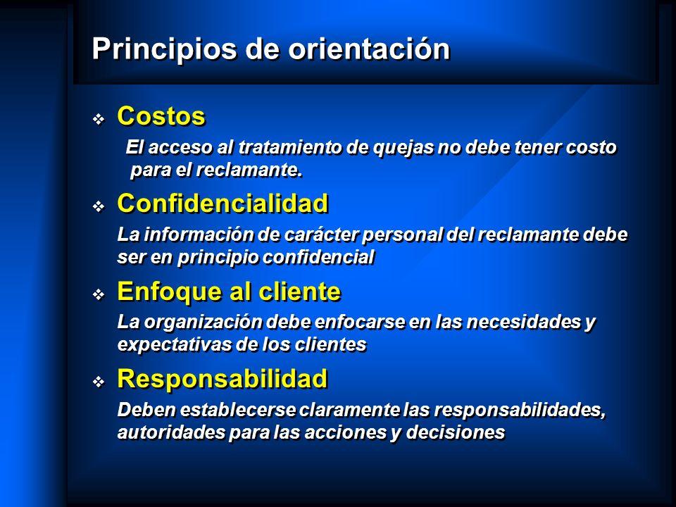 Principios de orientación Costos El acceso al tratamiento de quejas no debe tener costo para el reclamante. Confidencialidad La información de carácte