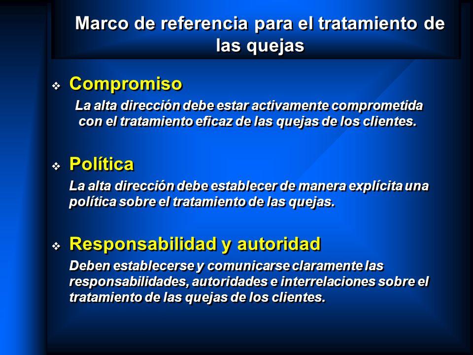 Marco de referencia para el tratamiento de las quejas Compromiso La alta dirección debe estar activamente comprometida con el tratamiento eficaz de la
