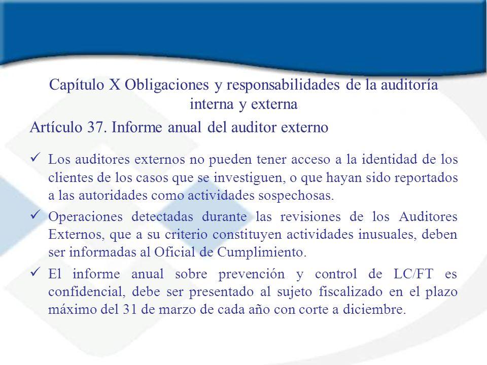 Capítulo X Obligaciones y responsabilidades de la auditoría interna y externa Artículo 37. Informe anual del auditor externo Los auditores externos no