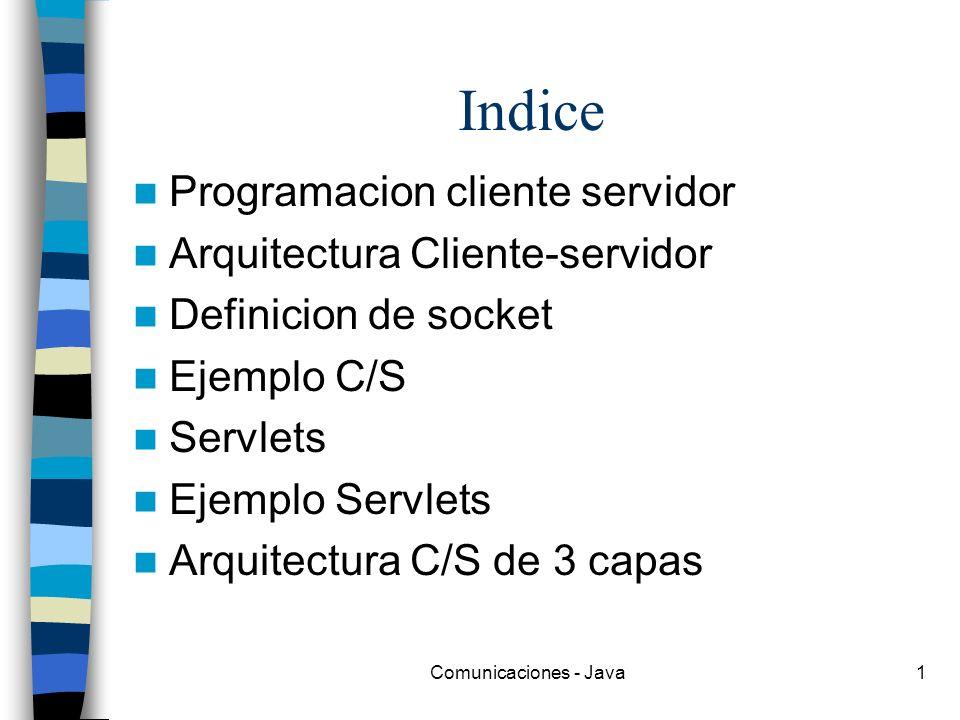 Comunicaciones - Java1 Indice Programacion cliente servidor Arquitectura Cliente-servidor Definicion de socket Ejemplo C/S Servlets Ejemplo Servlets A