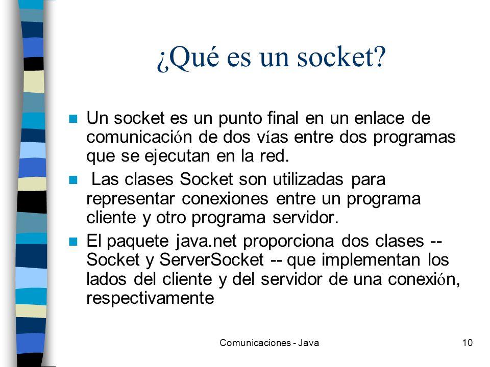Comunicaciones - Java10 ¿Qué es un socket? Un socket es un punto final en un enlace de comunicaci ó n de dos v í as entre dos programas que se ejecuta