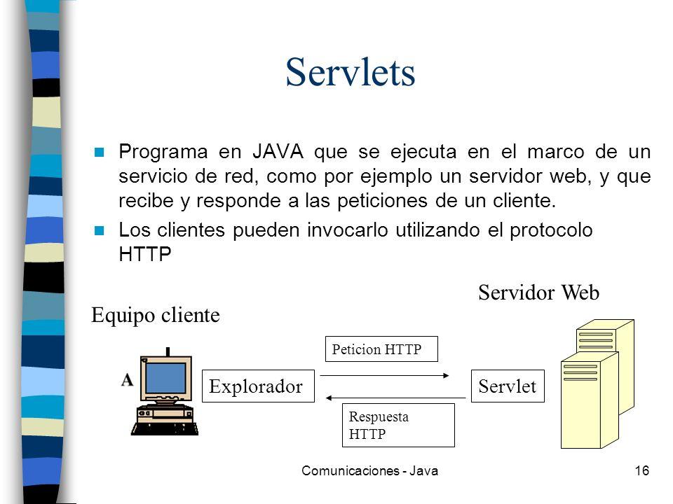 Comunicaciones - Java16 Servlets Programa en JAVA que se ejecuta en el marco de un servicio de red, como por ejemplo un servidor web, y que recibe y r