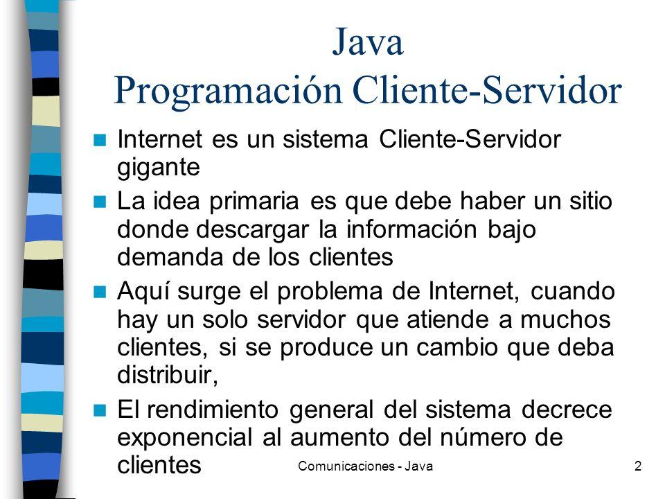 Comunicaciones - Java2 Java Programación Cliente-Servidor Internet es un sistema Cliente-Servidor gigante La idea primaria es que debe haber un sitio