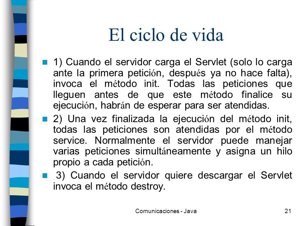 Comunicaciones - Java21 El ciclo de vida 1) Cuando el servidor carga el Servlet (solo lo carga ante la primera petici ó n, despu é s ya no hace falta)