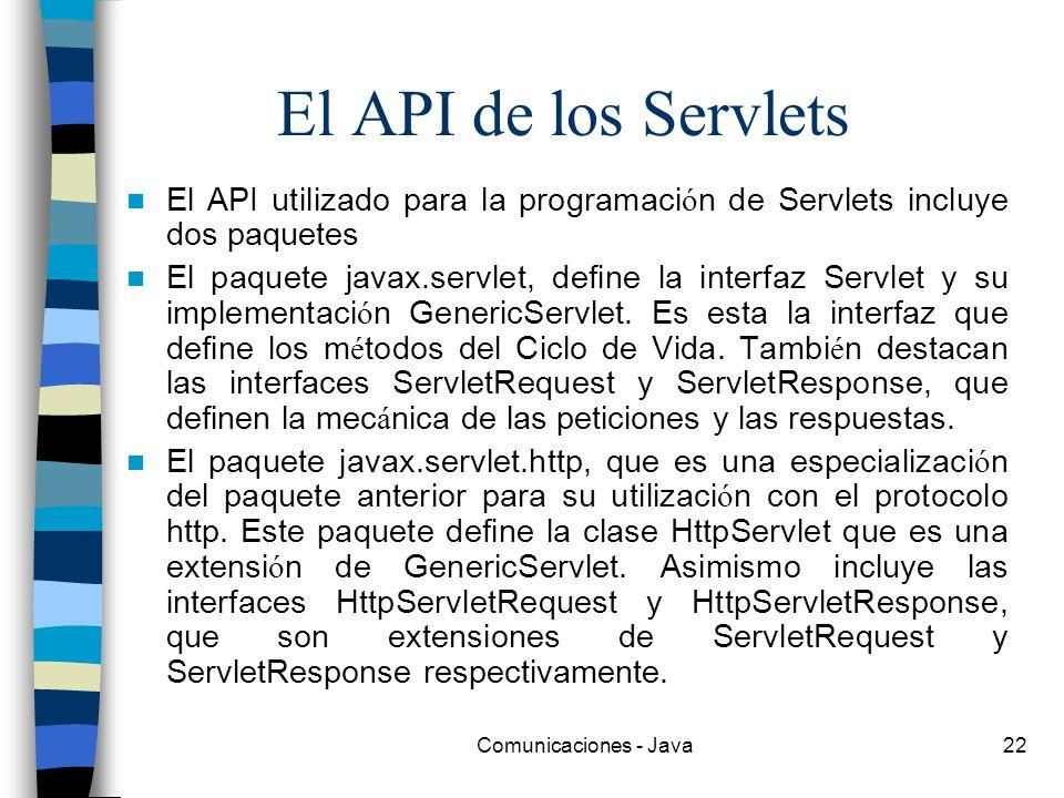 Comunicaciones - Java22 El API de los Servlets El API utilizado para la programaci ó n de Servlets incluye dos paquetes El paquete javax.servlet, defi