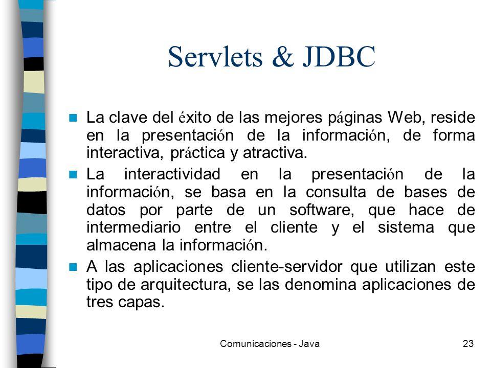 Comunicaciones - Java23 Servlets & JDBC La clave del é xito de las mejores p á ginas Web, reside en la presentaci ó n de la informaci ó n, de forma in
