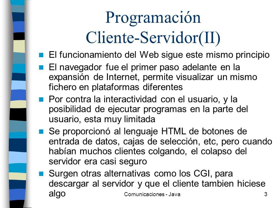 Comunicaciones - Java3 Programación Cliente-Servidor(II) El funcionamiento del Web sigue este mismo principio El navegador fue el primer paso adelante