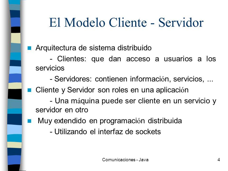 Comunicaciones - Java4 El Modelo Cliente - Servidor Arquitectura de sistema distribuido - Clientes: que dan acceso a usuarios a los servicios - Servid