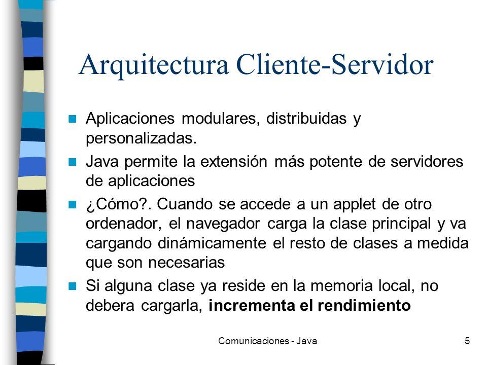 Comunicaciones - Java5 Arquitectura Cliente-Servidor Aplicaciones modulares, distribuidas y personalizadas. Java permite la extensión más potente de s