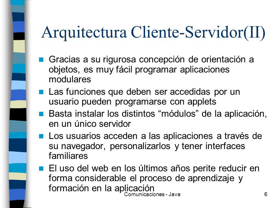 Comunicaciones - Java6 Arquitectura Cliente-Servidor(II) Gracias a su rigurosa concepción de orientación a objetos, es muy fácil programar aplicacione