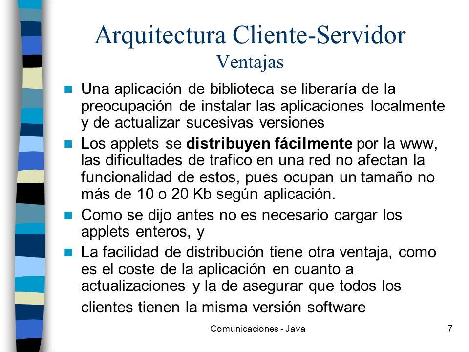 Comunicaciones - Java7 Arquitectura Cliente-Servidor Ventajas Una aplicación de biblioteca se liberaría de la preocupación de instalar las aplicacione