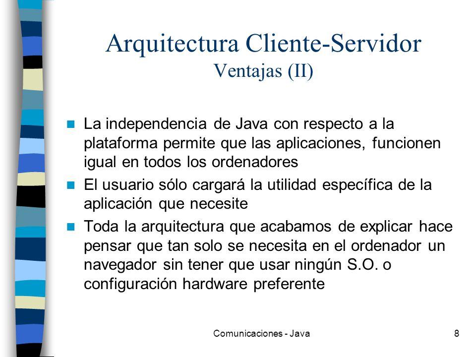 Comunicaciones - Java8 Arquitectura Cliente-Servidor Ventajas (II) La independencia de Java con respecto a la plataforma permite que las aplicaciones,