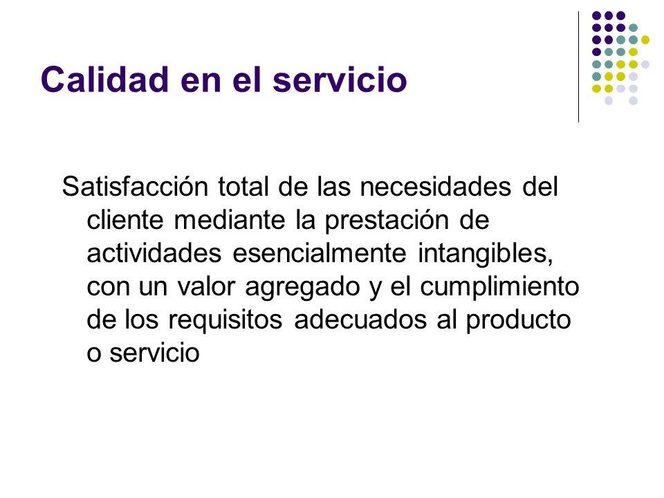 Calidad en el servicio Satisfacción total de las necesidades del cliente mediante la prestación de actividades esencialmente intangibles, con un valor