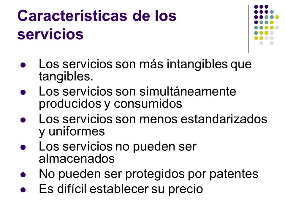 Los servicios son más intangibles que tangibles. Los servicios son simultáneamente producidos y consumidos Los servicios son menos estandarizados y un