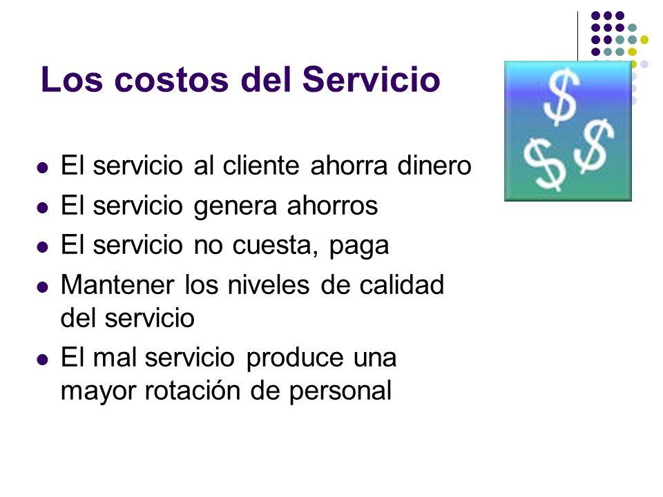 El servicio al cliente ahorra dinero El servicio genera ahorros El servicio no cuesta, paga Mantener los niveles de calidad del servicio El mal servic