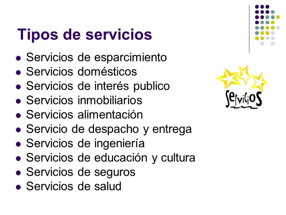 Servicios de esparcimiento Servicios domésticos Servicios de interés publico Servicios inmobiliarios Servicios alimentación Servicio de despacho y ent