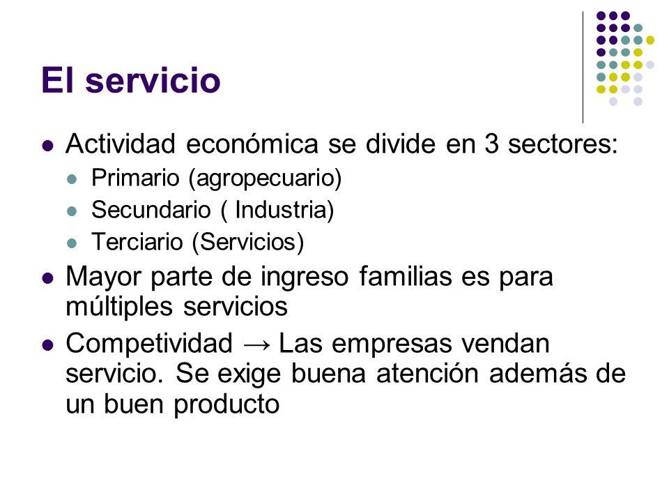El servicio Actividad económica se divide en 3 sectores: Primario (agropecuario) Secundario ( Industria) Terciario (Servicios) Mayor parte de ingreso