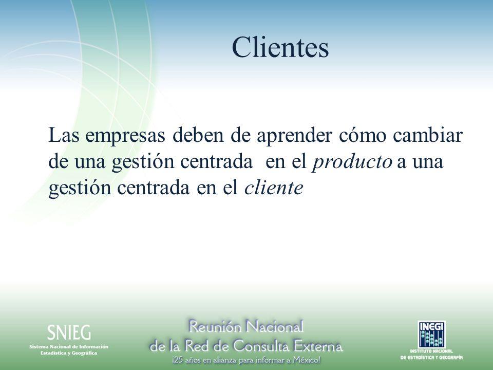 Clientes Las empresas deben de aprender cómo cambiar de una gestión centrada en el producto a una gestión centrada en el cliente