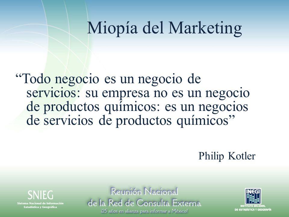 Miopía del Marketing Todo negocio es un negocio de servicios: su empresa no es un negocio de productos químicos: es un negocios de servicios de productos químicos Philip Kotler