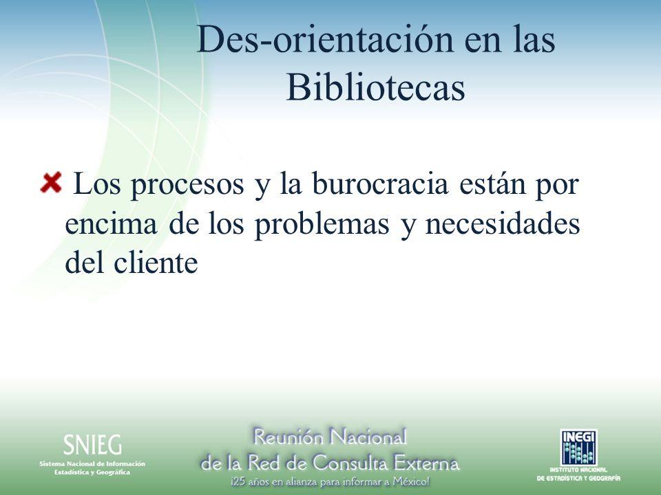 Des-orientación en las Bibliotecas Los procesos y la burocracia están por encima de los problemas y necesidades del cliente