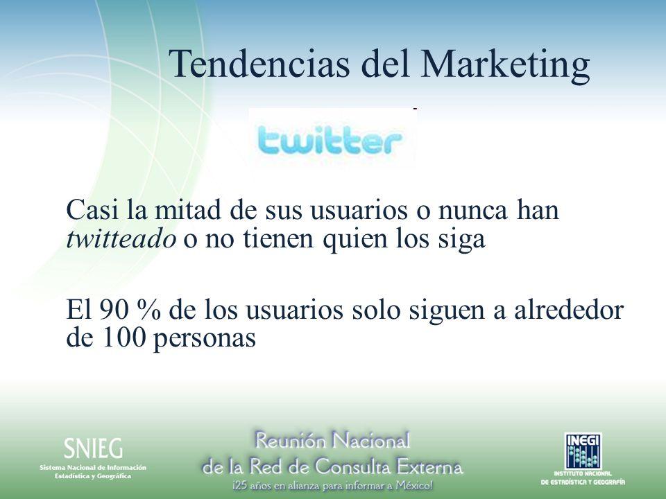 Tendencias del Marketing Casi la mitad de sus usuarios o nunca han twitteado o no tienen quien los siga El 90 % de los usuarios solo siguen a alrededor de 100 personas