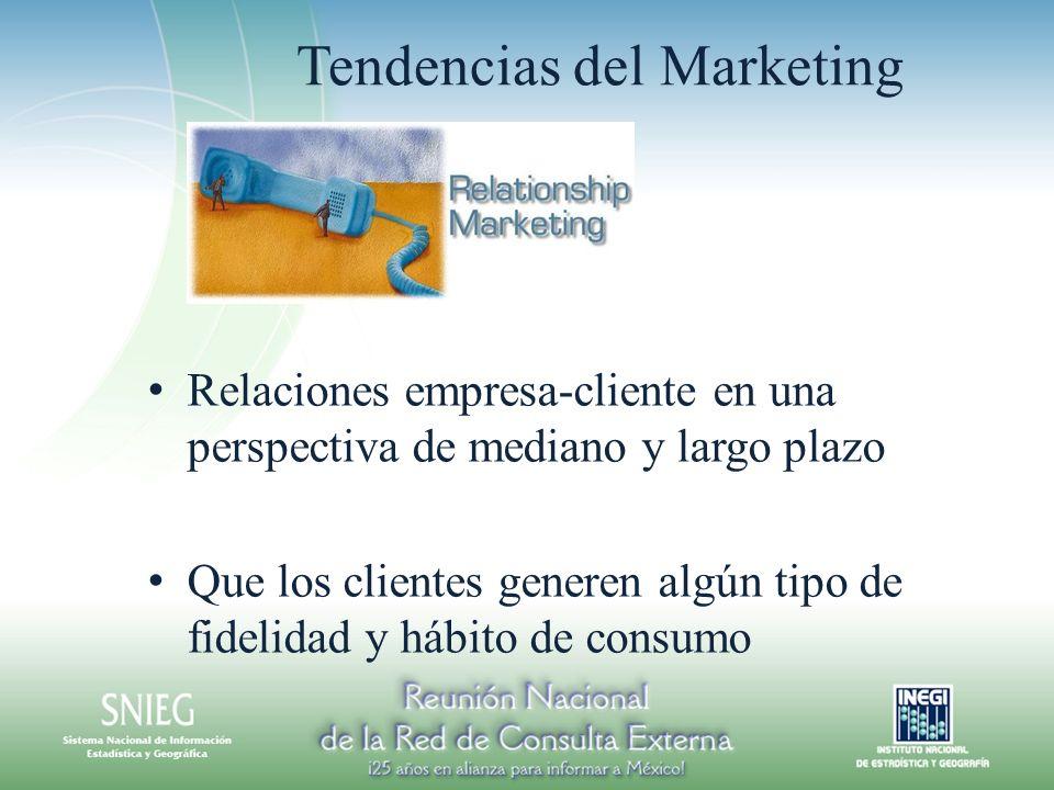 Tendencias del Marketing Relaciones empresa-cliente en una perspectiva de mediano y largo plazo Que los clientes generen algún tipo de fidelidad y hábito de consumo