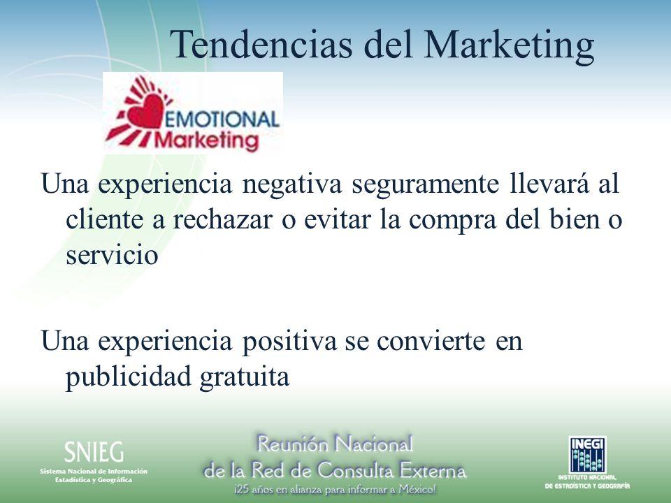 Tendencias del Marketing Una experiencia negativa seguramente llevará al cliente a rechazar o evitar la compra del bien o servicio Una experiencia positiva se convierte en publicidad gratuita