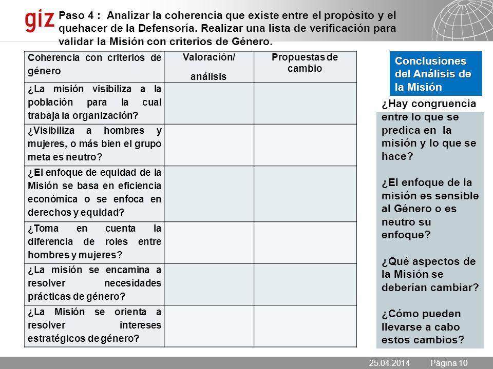 25.04.2014 Seite 10 Página 10 Coherencia con criterios de género Valoración/ análisis Propuestas de cambio ¿La misión visibiliza a la población para la cual trabaja la organización.