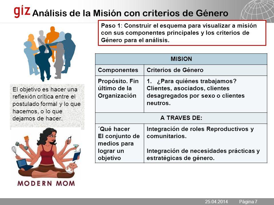25.04.2014 Seite 7 Página 7 MISION ComponentesCriterios de Género Propósito.
