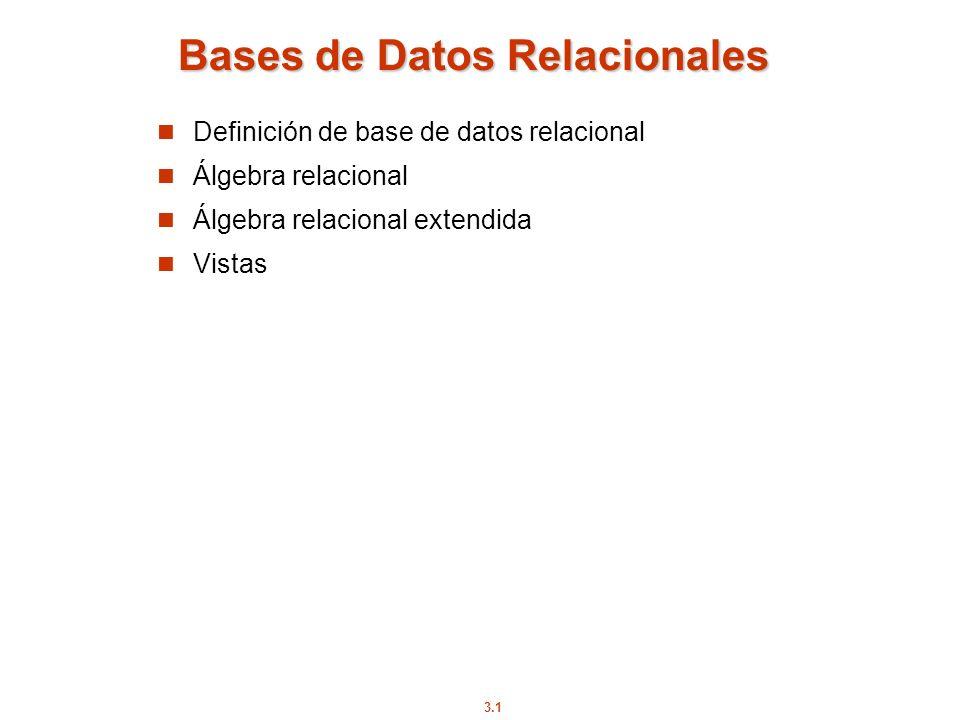 3.1 Bases de Datos Relacionales Definición de base de datos relacional Álgebra relacional Álgebra relacional extendida Vistas