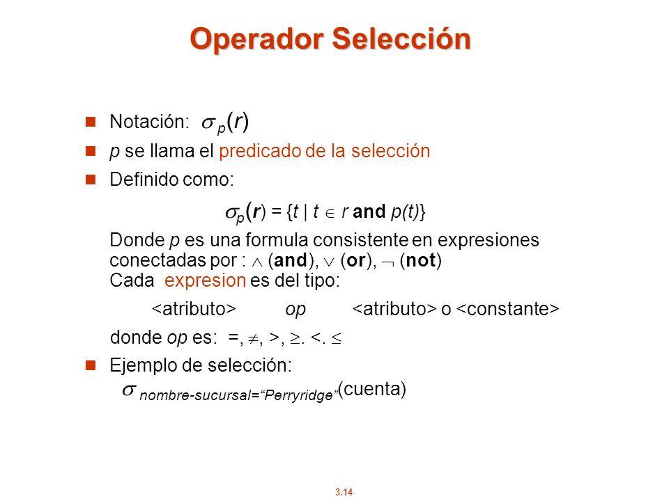 3.14 Operador Selección Notación: p (r) p se llama el predicado de la selección Definido como: p ( r) = {t | t r and p(t)} Donde p es una formula cons
