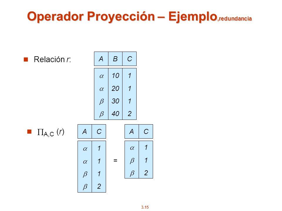 3.15 Operador Proyección – Ejemplo,redundancia Relación r: ABC 10 20 30 40 11121112 AC 11121112 = AC 112112 A,C (r)