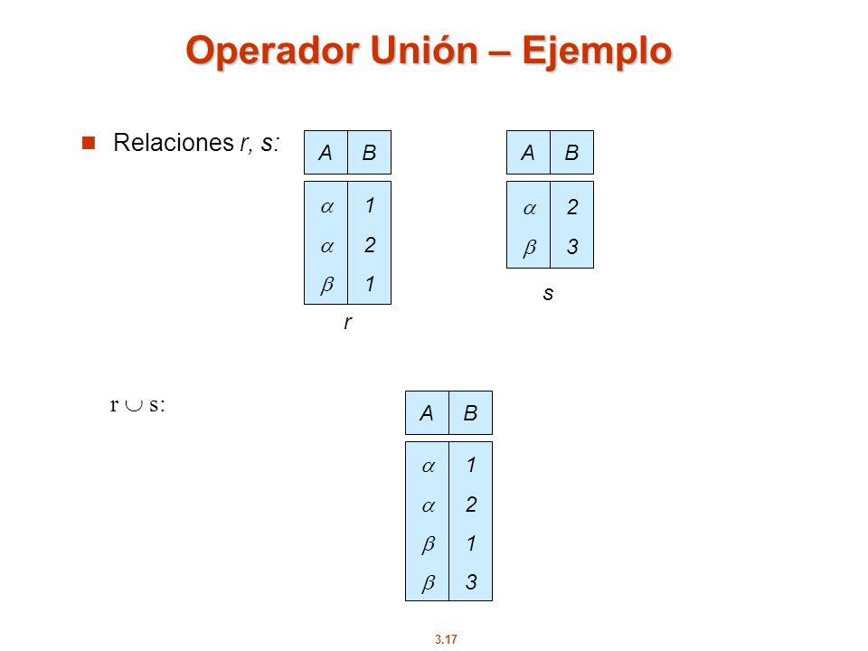 3.17 Operador Unión – Ejemplo Relaciones r, s: r s: AB 121121 AB 2323 r s AB 12131213