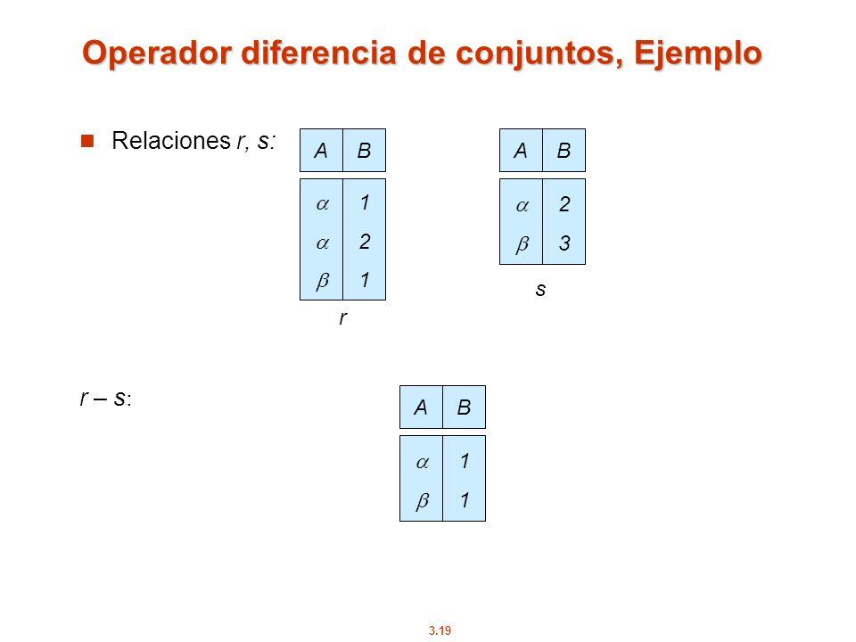 3.19 Operador diferencia de conjuntos, Ejemplo Relaciones r, s: r – s : AB 121121 AB 2323 r s AB 1111