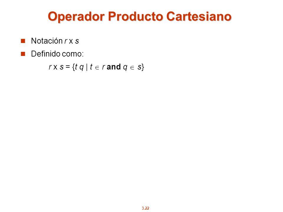 3.22 Operador Producto Cartesiano Notación r x s Definido como: r x s = {t q | t r and q s}