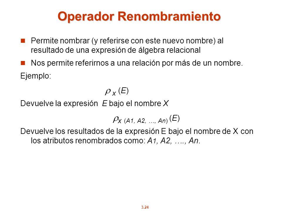 3.24 Operador Renombramiento Permite nombrar (y referirse con este nuevo nombre) al resultado de una expresión de álgebra relacional Nos permite refer
