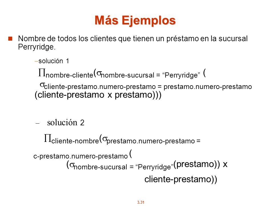 3.31 Más Ejemplos Nombre de todos los clientes que tienen un préstamo en la sucursal Perryridge. solución 2 cliente-nombre ( prestamo.numero-prestamo