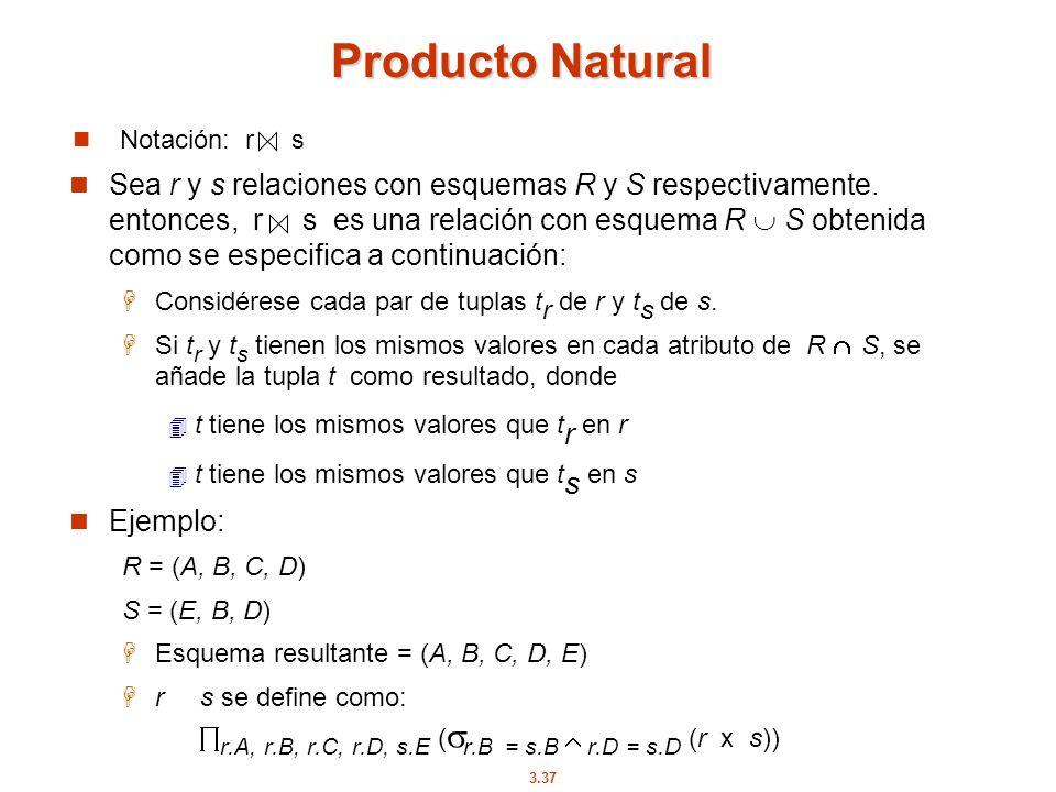 3.37 Notación: r s Producto Natural Sea r y s relaciones con esquemas R y S respectivamente. entonces, r s es una relación con esquema R S obtenida co